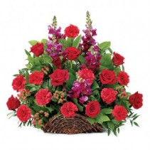 BEAUTIFUL THOUGHTS RED ROSES, RED CARNATIONS AND RED BERRIES ARRANGEMENT