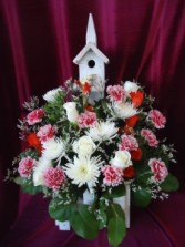 Bird House  with arrangement Sympathy in Conroe, TX | FLOWERS TEXAS STYLE