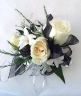 Black and White wrist corsage Weddings and Prom