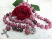 Bloomin Bead Red Rose Rosary  Handcrafted Petal Bead Rosary
