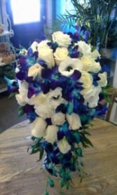 Blue and White Cascade Wedding bouquet