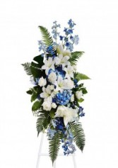 Blue and White Tribute Standing Spray