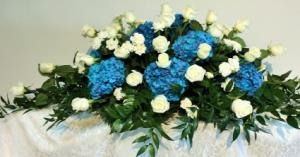 Blue Heaven Casket Spray  in Culpeper, VA | RANDY'S FLOWERS BY ENDLESS CREATIONS