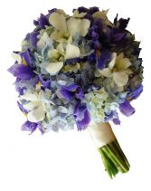 BLUE IRIS & HYDRANGEAS BRIDAL BOUQUET in Rockville, MD | ROCKVILLE FLORIST & GIFT BASKETS