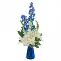 Blue Vibrations Fresh Flower Arrangement