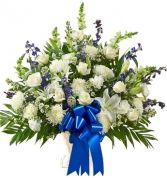 BLUE & WHITE SYMPATHY BASKET in Clarksburg, MD | GENE'S FLORIST & GIFT BASKETS 