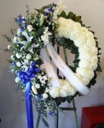 Blue & White Wreath Funeral Standing Spray