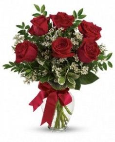 Bouquet with Red Roses Half Dz Roses in Ventura, CA | Mom And Pop Flower Shop