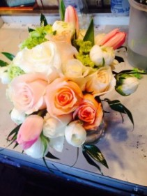 brides bouquet/ doubles as table arrang roses and tulips and wild flowers