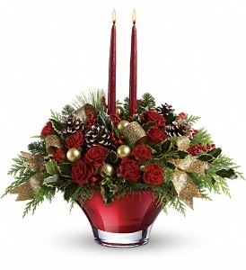 C172 Red Lily Bowl Centerpiece