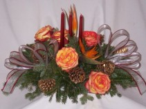 Candle Shimmers Golden Burgandy Christmas Centerpieces