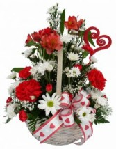 Carnation Daisy Delight Valentine's Basket Arrangement