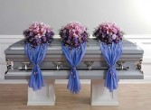 CASKET SPRAY WITH FABRIC DRAPE $256.00 EACH