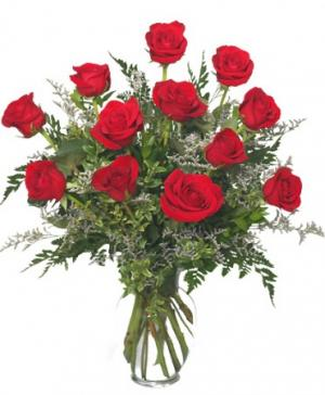 Classic Dozen Roses Red Rose Arrangement in Bowie, TX | A COTTAGE FLORIST & GIFTS