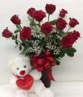 Classic Dozen Rose with large bear