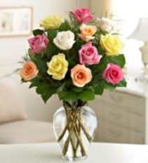 Assorted Roses Arranged in a vase