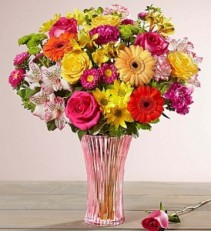 Confetti Bouquet In Fluted Pink Vase
