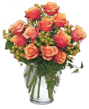 Coral Sunset Bouquet of Roses in Saint Paul, MN | JERRY'S ROSES