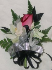 SILVER & BLACK Wedding Corsage