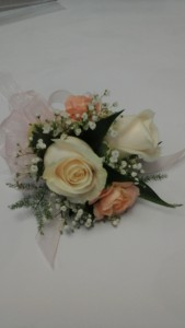 corsage peach and cream