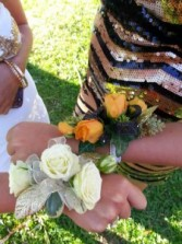 CR-6 Gold roses with Black Trim Corsage-Wrist