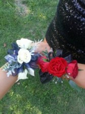 CR-7 White Spray Roses with Silver Trim Corsage-Wrist