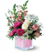 Crystal Baby Block - Pink in Eau Claire, WI | 4 SEASONS FLORIST INC.