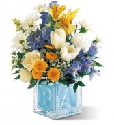 Crystal Baby Block Blue  in Eau Claire, WI | 4 SEASONS FLORIST INC.