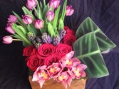 Claire's Flowers Custom Design  Tulips, Roses, Orchids, Hyacynth, and Tea Leaves in Santa Clarita, CA | CLAIRE'S FLOWERS