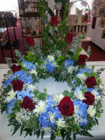 Red,White, blue Table Top Urn Wreath
