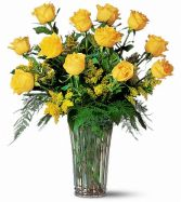 Dozen Yellow Roses Floral Arrangement