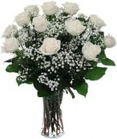 DOZEN WHITE ROSES Vase Arrangement in Edison, NJ | E&E FLOWERS AND GIFTS