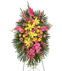 ENDURING LOVE STANDING SPRAY Funeral Flowers in Rochester, NH | LADYBUG FLOWER SHOP, INC.