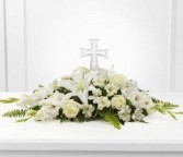 Eternal Light Bouquet  Fresh monochromatic arrangment with cross in Bowerston, OH | LADY OF THE LAKE FLORAL & GIFTS
