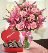Expressions of Pink and Strawberries Box Fruit & Flowers