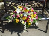 Exquisite Tribute Garden arrangement Casket Spray in Alma, WI | ALMA BLOOMS