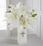 Faithful Blessings  Casablance Lillies in a ceramic vase in Bowerston, OH | LADY OF THE LAKE FLORAL & GIFTS