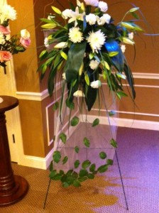 Falling Leaves Standing Spray Sympathy in Holland, MI | FLOWERS BY DESIGN  ZEELAND FLORAL & LINCOLN VILLAG