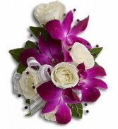 Fancy Orchids and Roses Wristlet T200-2a purple dendrobium orchids with white spray roses