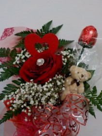 Fancy Single Red Rose Red Rose Wrapped