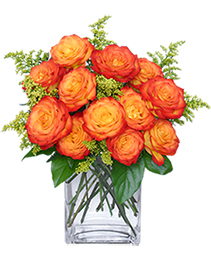 Fiery Love Vase of 'Circus' Roses