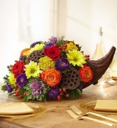 FRESH FLOWER CORNUCOPIA CENTERPIECE