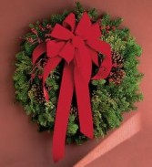 FRESH DOOR WREATH Fresh mixed Evergreens with a red velvet bow