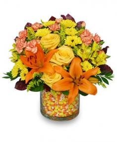 Candy Corn Halloween Bouquet in Goderich, ON | LUANN'S FLOWERS & GIFTS