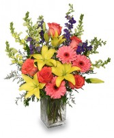 SPRING BLUSH BOUQUET Floral Arrangement Best Seller in Evergreen Park, IL | Q R D FLOWERS