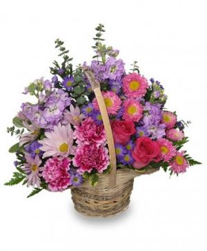 Sweetly Spring Basket Flower Arrangement in Chicopee, MA | GOLDEN BLOSSOM FLOWERS & GIFTS