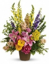 FA 3-Funeral arrangement of mixed flowers Flowers and colors may vary
