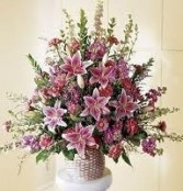 FA 9-Funeral arrangement of mixed flowers Flowers and colors may vary