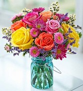 Garden Bouquet Bright and Colorful Roses, Daisies, Asters,