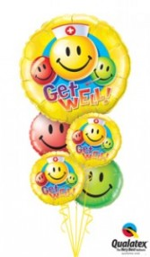 Get Well Smiley Faces balloons